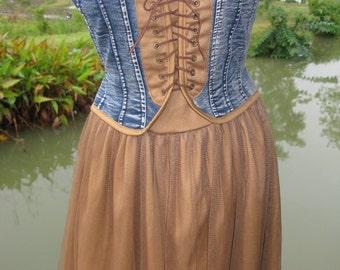 Cute Blue Denim Corset Top with Sheer Mesh Skirt Dress S