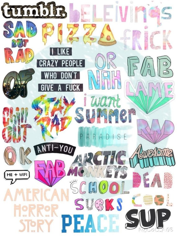 Items similar to Set #23. Tumblr Stickers. Stickers. Set ...