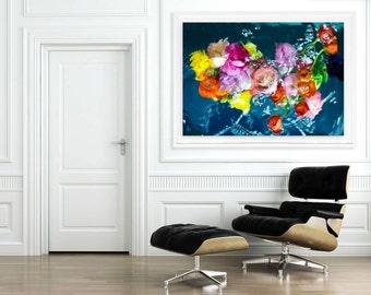 Large Floral Print, FRAMED Ranunculus Flower Art, Oversized Photography, Blue, Pink, Yellow, Modern Art by Jessica Kenyon