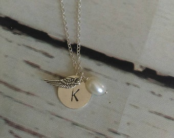 Remembrance necklace - initial necklace - Angel wing necklace - personalized memory necklace -
