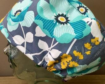Teal Flower Surgical Scrub Hat, Women's Floral European Style Scrub Cap, Modified Bouffant, Custom Caps Company
