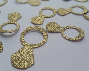 50 Glitter Diamond Ring Confetti, Bridal Shower Confetti, Engagement Party Confetti, Wedding Confetti, Glitter Confetti
