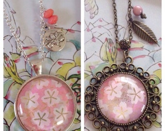 Sakura Jewelry - Necklace,Flower,Washi Paper,Japanese,White Flowers, Pink,Cabochon glass,Flowery Paper,Colors Beads,Leaf or Flower Charm