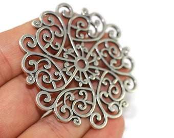 1 Pc Silver Filigree Spiral Charms - 54mm Filigree round pendant - antique silver plated filigree pendant, tribal filigree pendant 001