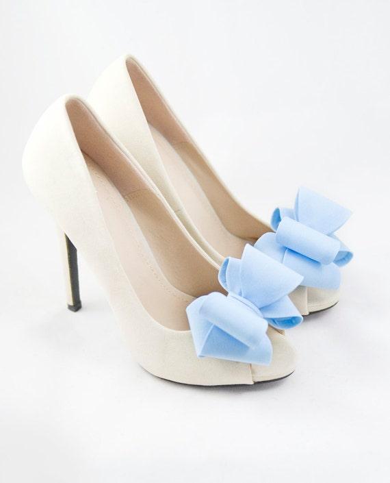 light blue 3d bows shoe clips bridal wedding shoe accessories