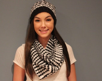 Crocheted Hounds Tooth Hat  & Scarf set