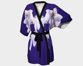 Orchid Kimono - Elegant White Orchids, Japanese Silk or Chiffon Kimono, Floral Regal, Graceful, Luxury Clothing. Orchid, Asian