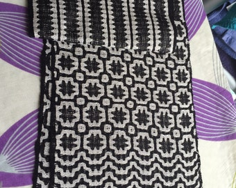 Black and white Handwoven scarf