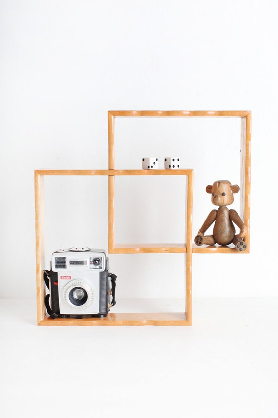 mid century modern wall shelf set square shelves diamond. Black Bedroom Furniture Sets. Home Design Ideas