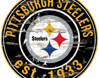 "NFL Pittsburgh Steelers Round Distressed Established Wood Sign 24"" In Diameter"