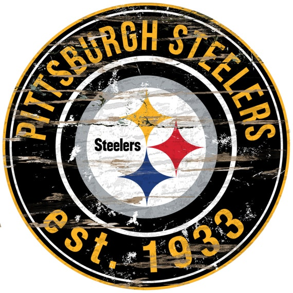 Nfl Pittsburgh Steelers Round Distressed Established Wood Sign