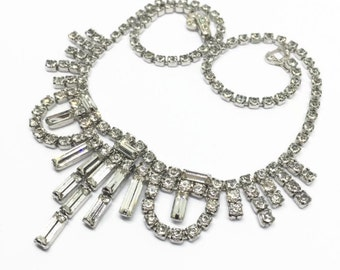 Vintage Clear Rhinestone Necklace Dazzling Wedding