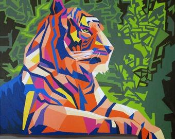 Original oil painting Tiger - oil on canvas 120 x 100 cm