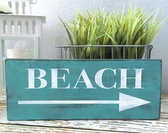 Beach Wood Sign, Distressed Wooden Sign, Handpainted Beach Sign