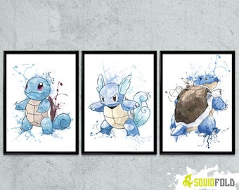 Pokemon: Squirtle, Wartortle and Blastoise evolution poster set Watercolor print/poster, wall art