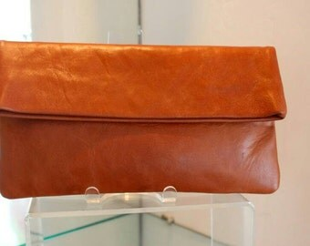 Leather clutch, tan clutch , fold over clutch