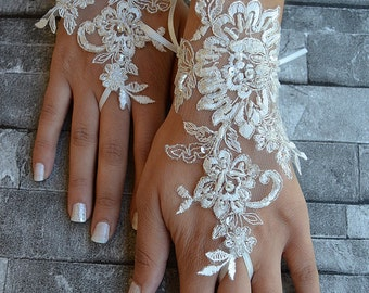 ivory Silver frame, wedding glove unique Original design Wedding Gloves ivory lace gloves Fingerless Gloves Free Ship