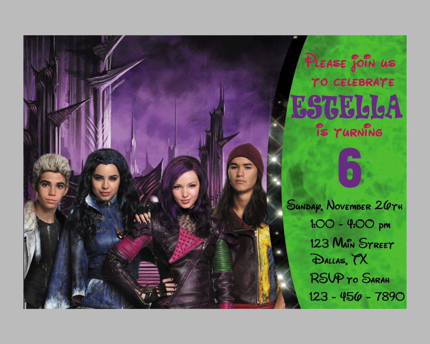 Disney Descendants Invitation Disney Descendants Birthday – Personalized Disney Birthday Invitations