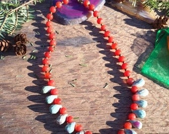 On Sale Carnelian and Ruby Beaded Necklace, Bohemian Necklace