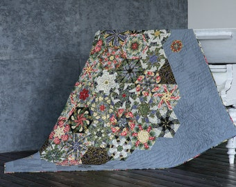 Handmade,Modern Patchwork Quilt,Loft,Kaleidoscope,Double,King or Queen Bed Throw, Blanket, BedSpread,Gray