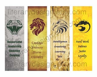 Harry Potter Downloadable Bookmarks - Gryffindor - Slytherin - Ravenclaw - Hufflepuff - J.K. Rowling - Instant Download - Hogwarts House