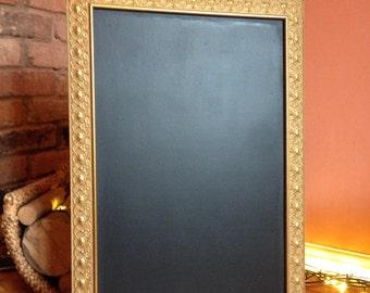 Gold chalkboard rose pattern vintage shabby chic wedding menu