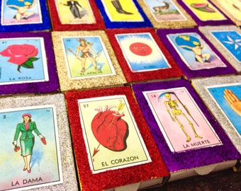 5 Authentic Don Clemente Loteria Matchboxes with glitter - Mexican wedding favors - Mexican folk art - party/fiesta favors