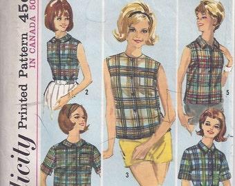 Misses' Blouses Pattern/ Patron de chemisiers pour femme -  1960s