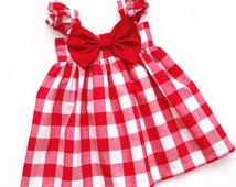 Red/White Gingham Big Bow Dress !