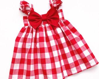 Gingham Big Bow Dress ! Heirloom dress ! Girls Dress !