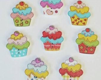 """1"""" Cupcake Buttons x 8, Wooden Buttons,"""