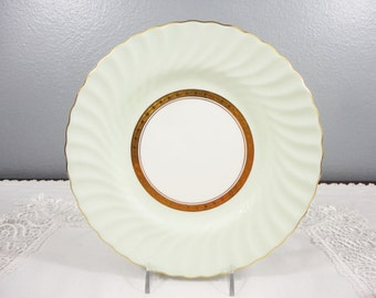 Minton Blue/Mint Green Swirled Bone China Plate with Gold Center