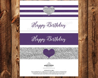 DIGITAL - Purple Silver Happy Birthday Printable Water Bottle Labels Birthday Party Decoration Purple Striped Party Decor