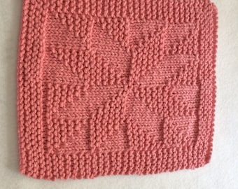 """1 100% Cotton Hand Knitted Patterned """"Annie's Choice""""  Dish Cloth / Wash Cloth - Pink - Lot WC 101"""