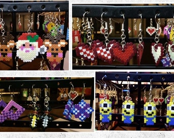 Hama Beads earrings-Minions-Christmas-sword-hearts