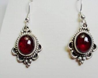 Silver Garnet Dangle Drop Earrings