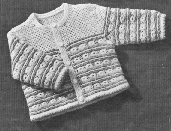 Vintage Baby Cardigan Knitting Pattern : 394 Vintage 1940s Baby Sweater Knitting Pattern