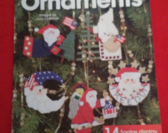 plastic canvas book patriotic santa ornaments