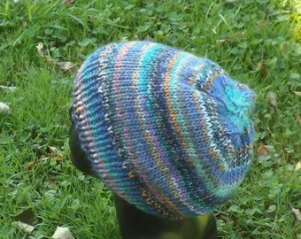 CAP, beanie, blue stained