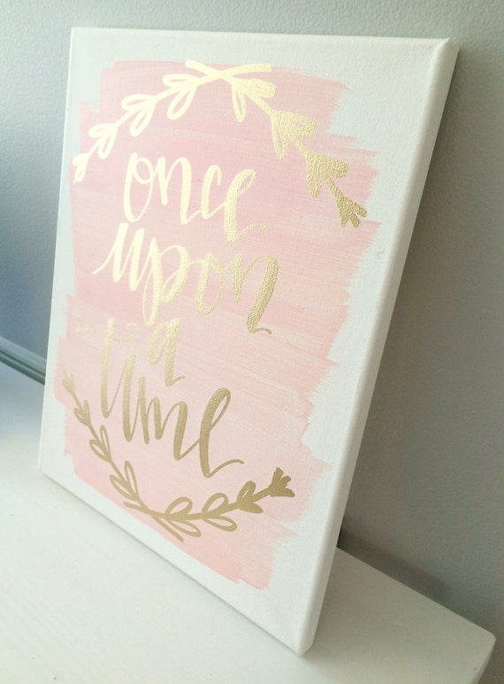 Once Upon A Time 11x14 Canvas Sign Wedding Decor Girls Room