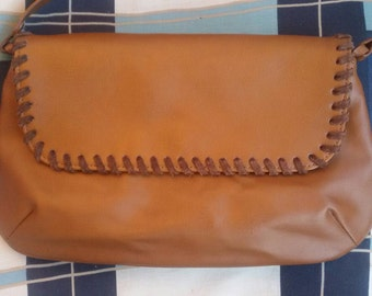 Brown leather bag, Vintage handbag, H&M bag, Hand tooled handbag