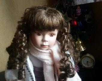 Vintage porcelain doll, retro doll, 16 inch porcelain doll