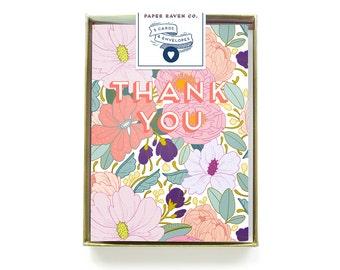 Box Set of 5 - Thank You Card Floral Flower Pattern Illustration Blank Inside