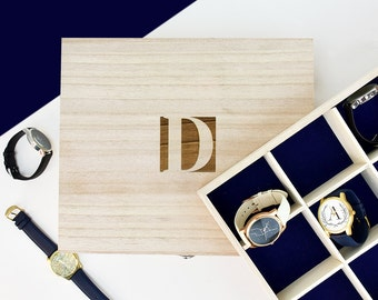 Monogram Personalised Wooden Watch Box - Gift For Him - Gift for Her - Birthday Gift - Gift for Husband - Personalized Gift [PWTCHBX-001]