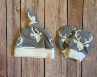 Deer baby knot hat, and no scratch mittens, newborn set - bucks head gray