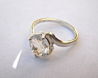 Faceted NY Herkimer Diamond Sterling Silver Ring Size 7