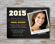 Cute 7 x 5 Polaroid Graduation Invitation (DIGITAL FILE ONLY) Personalized with your photo! congrats; say cheese; smile; personalized