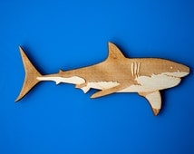 Shark magnet fish sealife fun handmade home decor wooden art gift refrigerator wildlife zoo animals magnets kids gift idea educational toy