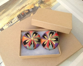 Japanese Kimono print Fabric Covered Button Earrings - Extra Large