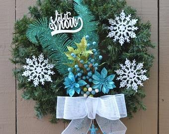 Let it Snow Turquoise Wreath